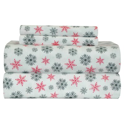 Xander Heavy Weight Snow Flakes Printed Flannel Sheet Set Color: White, Size: King