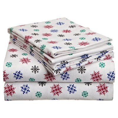 Xander Heavy Weight Snow Flakes Printed Flannel Sheet Set Color: Multi, Size: California King