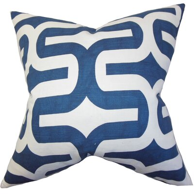 Suzanne Cotton Throw Pillow Cover Color: Navy, Size: 20 H x 20 W