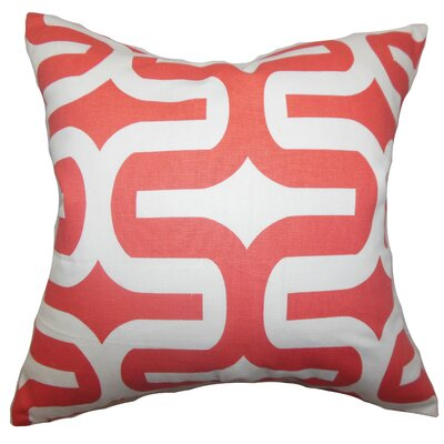 Suzanne Cotton Throw Pillow Cover Color: Salmon, Size: 20 H x 20 W