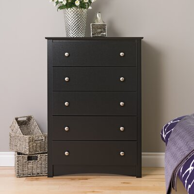 Wanda 5 Drawer Chest Color: Black