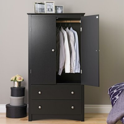 Wanda 2 Door Armoire Finish: Black Sonoma