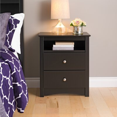 Wanda 2 Drawer Nightstand Color: Black