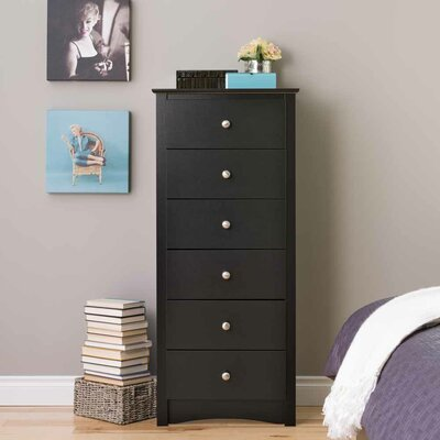 Wanda 6 Drawer Lingerie Chest Color: Black