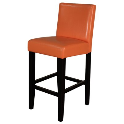 Swarthout 26 Bar Stool Upholstery: Orange With Brown Legs