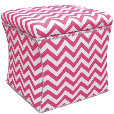 Agnes Nail Button Storage Ottoman in Candy Pink
