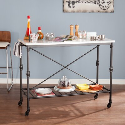 Kitchen Island with Metal Open Shelf