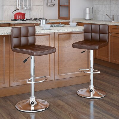 Andres Adjustable Height Swivel Bar Stool Upholstery: Brown