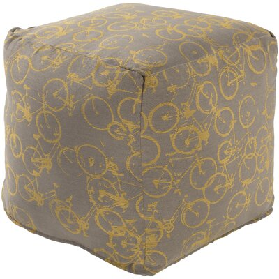 Streeter Cube Ottoman Upholstery: Charcoal / Gold