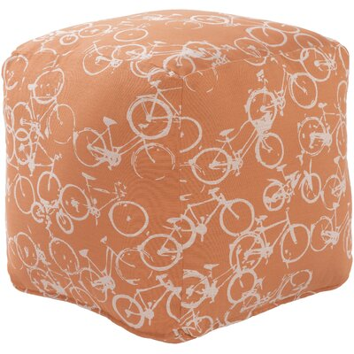Streeter Cube Ottoman Upholstery: Rust / Ivory