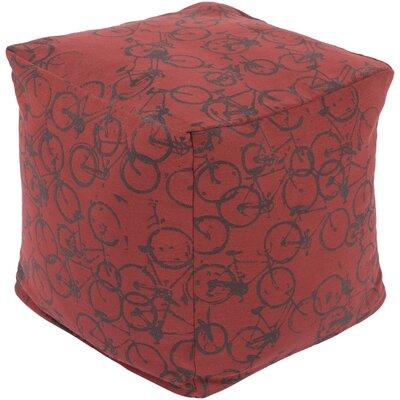 Streeter Pouf Ottoman Upholstery: Burgundy / Charcoal