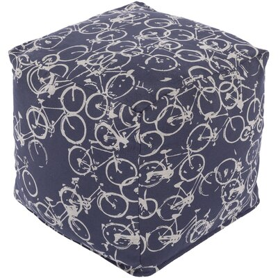Kayla Pouf Ottoman Upholstery: Navy / Light Gray