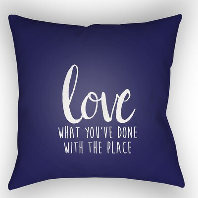 Indoor/Outdoor Throw Pillow Size: 18 H x 18 W x 4 D, Color: Blue