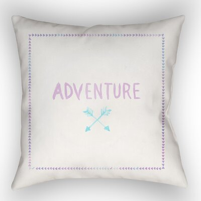 Square Shaped Accent Indoor/Outdoor Throw Pillow Size: 18 H x 18 W x 4 D, Color: White/Purple