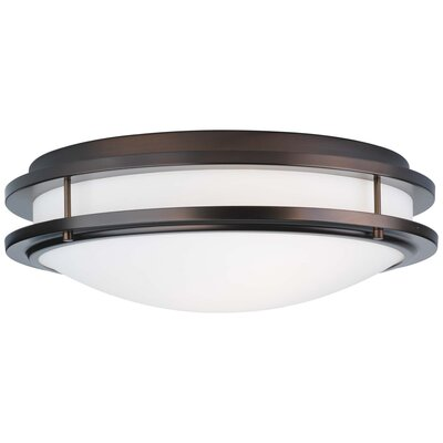 Belfield 2-Light Flush Mount Fixture Finish: Merlot Bronze, Size: 6 H x 18 W x 18 D