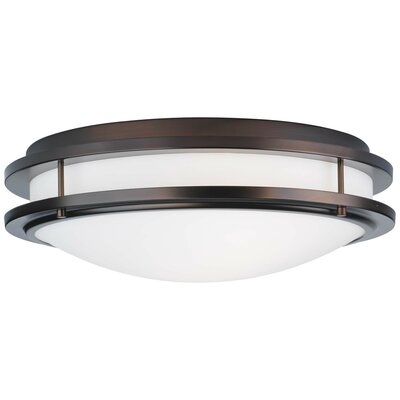 Belfield 2-Light Flush Mount Size: 4.875 H x 13.75 Dia, Finish: Merlot Bronze