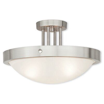 Ann 3-Light Semi Flush Mount Finish: Brushed Nickel