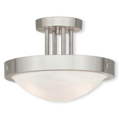 Ann 2-Light Semi Flush Mount Finish: Brushed Nickel