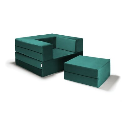 Eugene Modular Sleeper Chair with Ottoman Upholstery: Turquoise