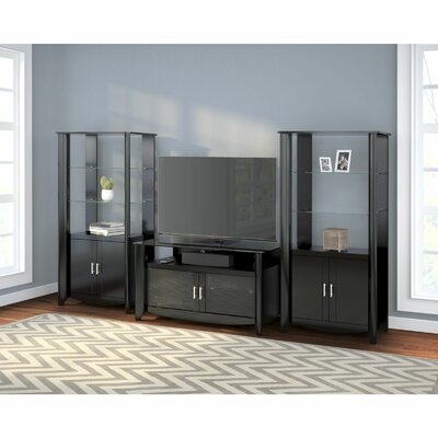 Wentworth TV Stand and Library Storage Cabinet with Doors Finish: Classic Black