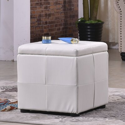 Classic Storage Cube Ottoman Upholstery: Creamy White