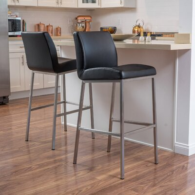 Lotie 30 Bar Stool Upholstery: Black