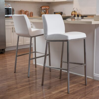 Lotie 30 Bar Stool Upholstery: White