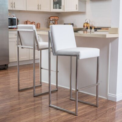Marisol 29.5 Bar Stool Upholstery: White