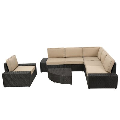 Riam 7 Piece Seating Group with Cushion Finish: Dark Brown