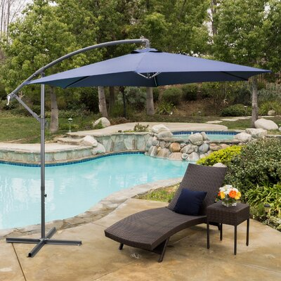 Hexagonal Solid 10 Cantilever Umbrella Color: Navy Blue