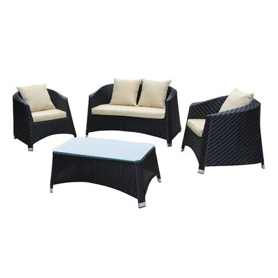 Julie 4 Piece Lounge Seating Group with Cushion Color: Creme