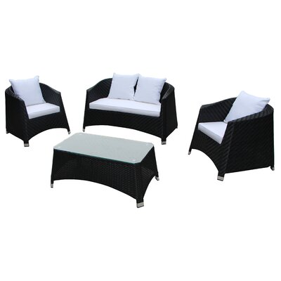Julie 4 Piece Lounge Seating Group with Cushion Color: White