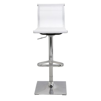 Bartow Adjustable Height Swivel Bar Stool Upholstery: White