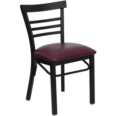 Outlook Ladder Back Side Chair Upholstery: Burgundy Vinyl