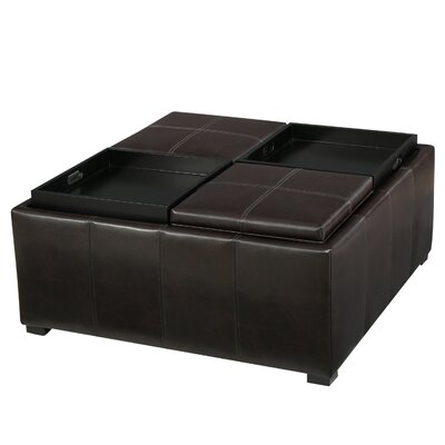 Adrielle Cube Shaped Faux Leather Tray Top Ottoman Upholstery: Brown