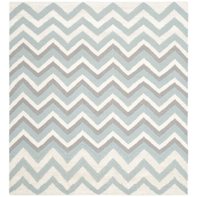 Blue/White Hand Woven Area Rug Rug Size: Square 6