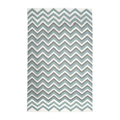 Blue/White Hand Woven Area Rug Rug Size: 5 x 8
