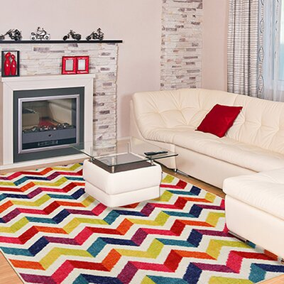 Rory Red/Yellow Area Rug Rug Size: Rectangle 5 x 8