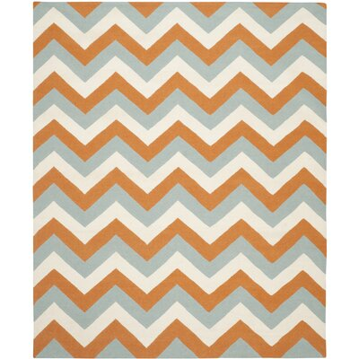Lily Blue/Orange Area Rug Rug Size: 8 x 10