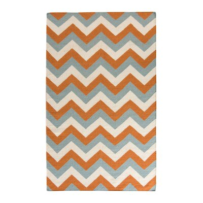 Lily Blue/Orange Area Rug Rug Size: 5 x 8