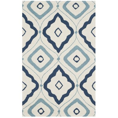 Pick City Ivory/Navy Indoor/Outdoor Area Rug Rug Size: 5 x 8