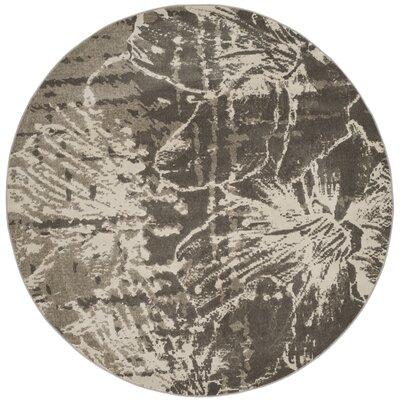 Glennville Gray/Dark Gray Area Rug Rug Size: Round 67