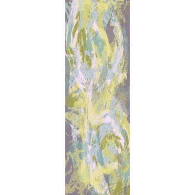 Dixie Sky Blue/Lime Area Rug Rug Size: Runner 26 x 8