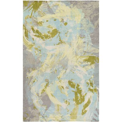 Dixie Sky Blue/Lime Area Rug Rug Size: 4 x 6