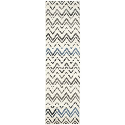 Pheobe Cream/Blue Area Rug Rug Size: Runner 23 x 8