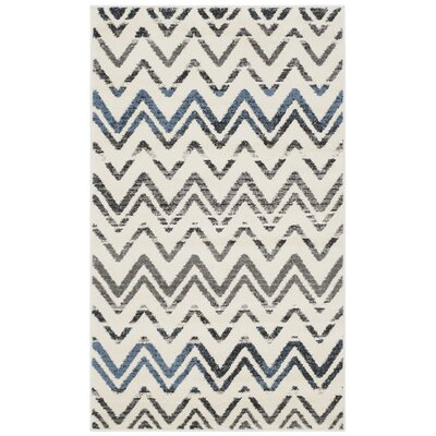 Pheobe Cream/Blue Area Rug Rug Size: 3 x 5