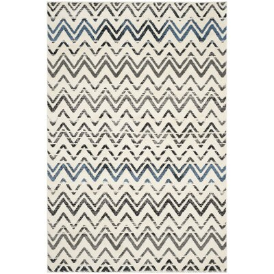 Pheobe Cream/Blue Area Rug Rug Size: Rectangle 51 x 76