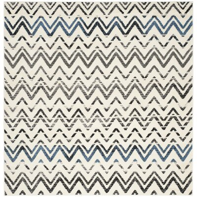 Pheobe Cream/Blue Area Rug Rug Size: Square 6