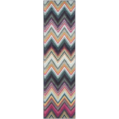 Leonie Green/Pink Area Rug Rug Size: Rectangle 4 x 57