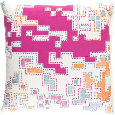 Wallace Cotton Throw Pillow Size: 22 H x 22 W x x 4 D, Color: Magenta / Tangerine / Teal / Ivory
